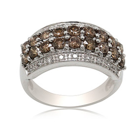 10K White Gold Brown and White Diamond Ring 19100041