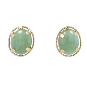 14K Yellow Gold Jade Stud Earrings 42002925