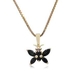 10K Yellow Gold Sapphire and Diamond Butterfly Charm 59210042