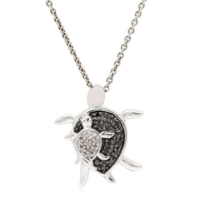 10K White Gold Diamond Turtle Charm 19100042