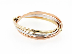 14K Tri-Color Gold Fancy Criss Cross Bangle 23000182