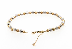14K Two Toned White And Yellow Gold Beaded Anklet  20001603
