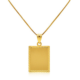 14K Yellow Gold Rectangular Dog Tag Charm 50003430