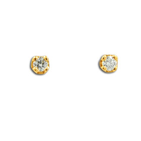 14K Yellow Gold Diamond Stud Push Back Earrings 41002214