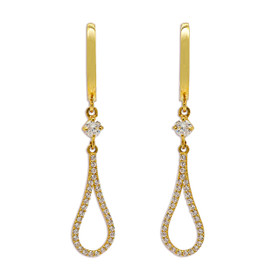 14K Yellow Gold Cubic Zirconia Hanging Huggie Earrings 42002963