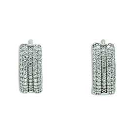 14K White Gold Cubic Zirconia Huggie Earrings 42002965