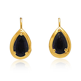 14K Yellow Gold Pear Cut Amethyst Lever Back Earrings 32000534