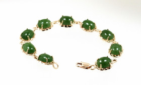 "10K Yellow Gold Natural Jade 7.25"" Bracelet 29000134"