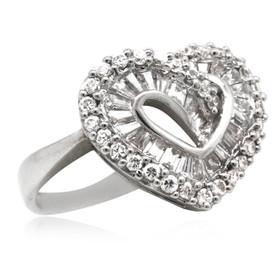 14K White Gold Heart Cubic Zirconia Ring