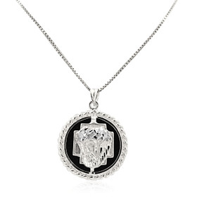 14K White Gold Onyx Christ Head Charm