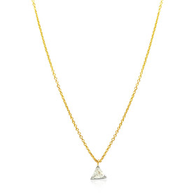 14K Yellow Gold Diamond Trillion Charm Necklace