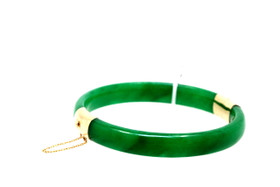 14K Yellow Gold Natural Jade Round Bangle 22000790