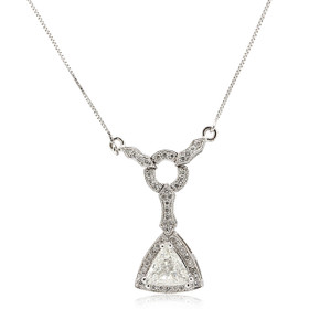"14K White Gold 18"" Triangular Diamond Necklace 31000879"
