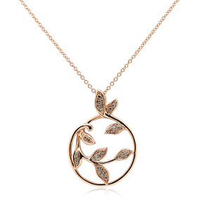 14K Rose Gold Diamond Circle Leaf Necklace 31000880
