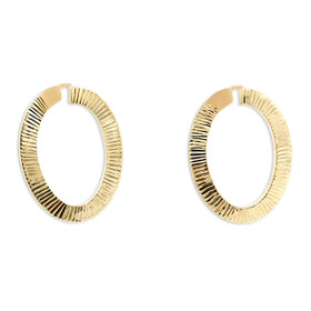 14K Yellow Gold Diamond Cut Oval Hoop Earrings 40002504
