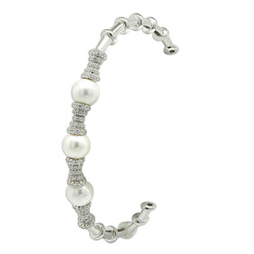 Sterling Silver Pearl and Cubic Zirconia Cuff Bangle 82010717