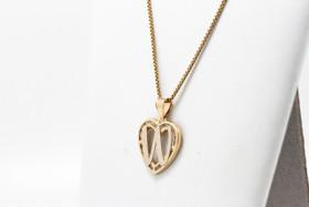 "14K Yellow Gold Cubic Zirconia ""W"" Initial Heart Charm"