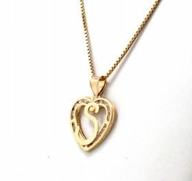 "14K Yellow Gold Cubic Zirconia ""S"" Initial Heart Charm"
