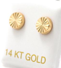 14K Yellow Gold Diamond Cut Button Stud Earrings 40002548