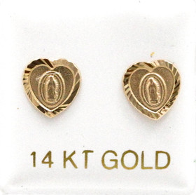 14K Yellow Gold Virgin Mary Heart Shaped Stud Earrings 40002544