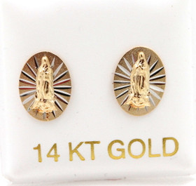14K Yellow Gold Virgin Mary Diamond Cut Stud Earrings 40002542