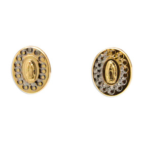 14K Yellow Gold Virgin Mary Diamond Cut Stud Earrings 40002568