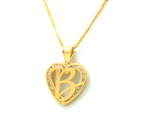 "14K Yellow Gold Cubic Zirconia ""B"" Initial Heart Charm 52001978"