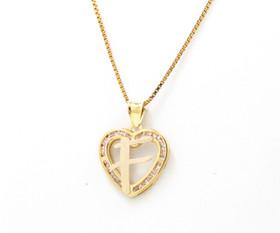 "14K Yellow Gold Cubic Zirconia ""F"" Initial Heart Charm 52001982"