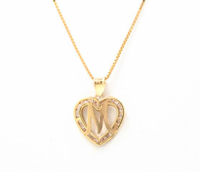"14K Yellow Gold Cubic Zirconia ""M"" Initial Heart Charm 52001987"
