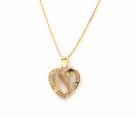 "14K Yellow Gold Cubic Zirconia ""N"" Initial Heart Charm 52001988"