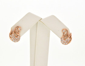 14K Pink Gold Swan CZ Earrings