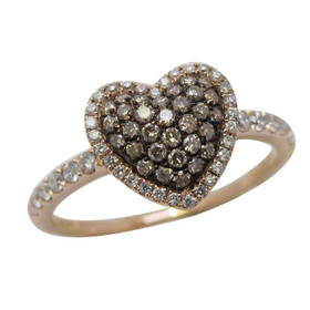 10K Pink Gold Brown and White Diamond Heart Ring