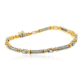 "14K Yellow and White Gold Diamond /Oval Tanzanite 7"" Bracelet"