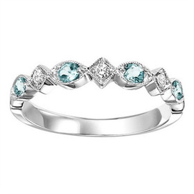 14K White Gold Diamond and Blue Topaz Stackable Ring FR1236