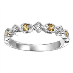 14K White Gold Diamond and Citrine Stackable Ring FR1240