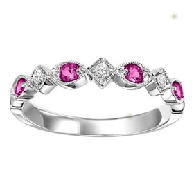 14K White Gold Diamond and Ruby Stackable Ring FR1075
