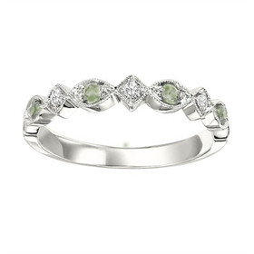 14K White Gold Diamond and Peridot Stackable Ring FR1239