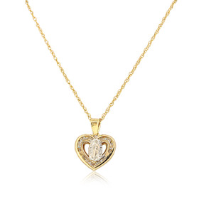 14K Two Toned Gold CZ  Virgin Mary Heart Charm 52002001