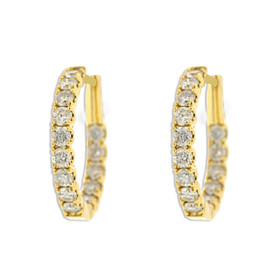 18K Yellow gold Diamond Hoop Earrings 41002233