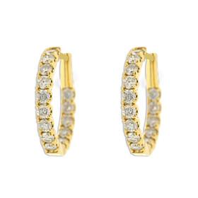 18K Yellow gold Diamond Hoop Earrings 41002233