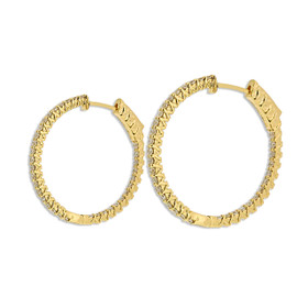18K Yellow Gold Diamond Hoop Earrings 41002237
