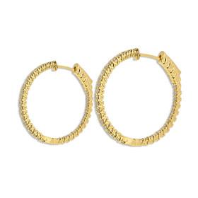 18K Yellow Gold Diamond Hoop Earrings 41002237