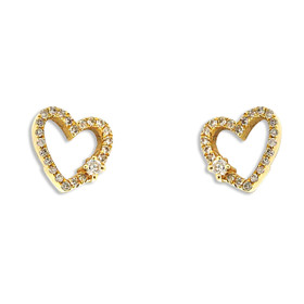 14K Yellow Gold Diamond Heart Stud Earrings 41002242