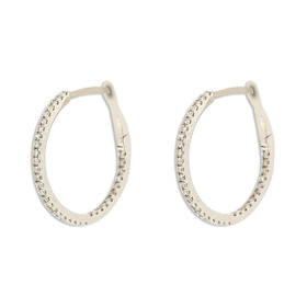 14K White Gold Diamond Hoop Earrings 41002241