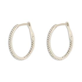 14K White Gold Diamond Hoop Earrings 41002241