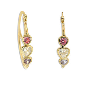 10K Yellow Gold Multicolored CZ Oval Hoop Earrings 49000165