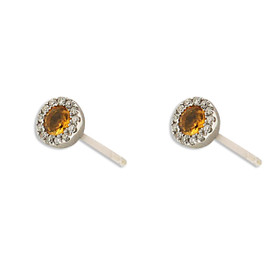 14K White Gold Citrine Diamond Stud Earrings 42002987