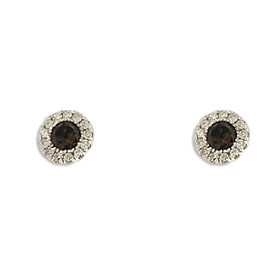 14K White Gold Smoky Topaz Diamond Stud Earrings 42002986