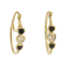 10K Yellow Gold Black-White CZ Oval Hoop Earrings 49000164
