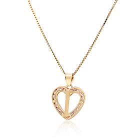 "14K Yellow Gold Cubic Zirconia ""I"" Initial Heart Charm 52002003"